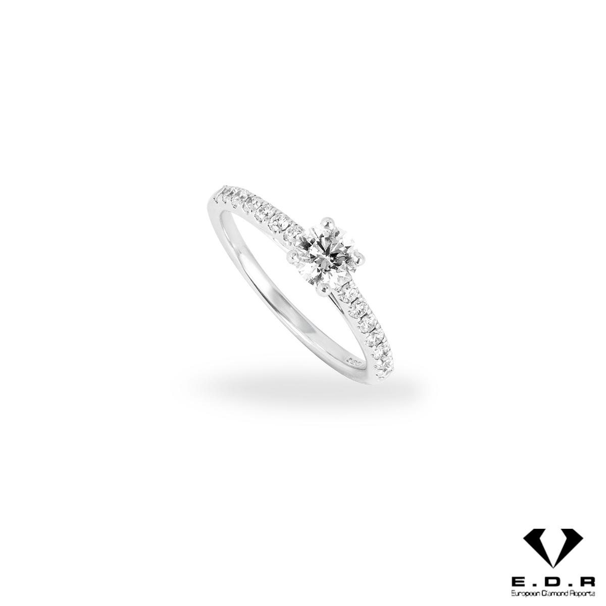 18k White Gold Round Brilliant Cut Diamond Ring 0.50ct H/VS1